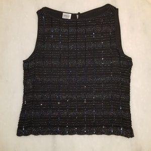 Armani Collezioni Black Hand-Beaded Top